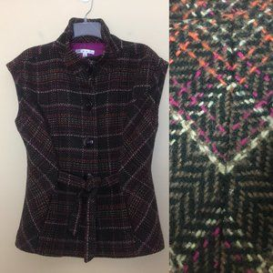 CAbi 691 Plaid Cinch It Up Belted Vest Jacket L